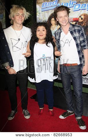 LOS ANGELES - FEB 10:  Ross Lynch, Raini Rodriguez, Calum Worthy at the
