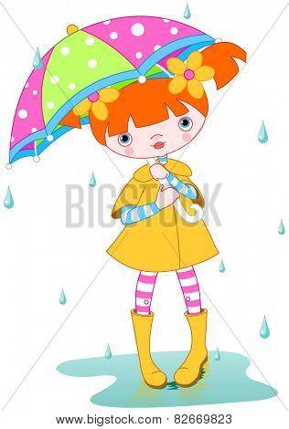 Girl wearing rain gear, carrying umbrella