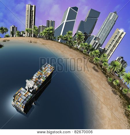 Cargo  tanker and city on earth model. poster