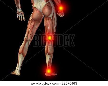 Conceptual human man anatomy lower body or health design, joint or articular pain, ache or injury on black background for medical, fitness, medicine, bone, care, hurt, osteoporosis, painful, arthritis
