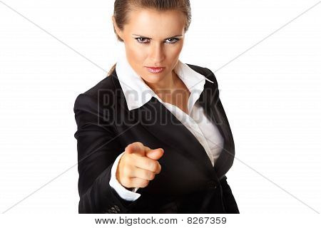modern business woman pointing finger at you
