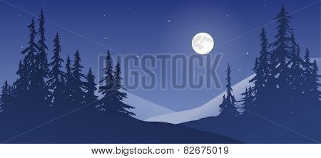 Snowy Landscape With Moon