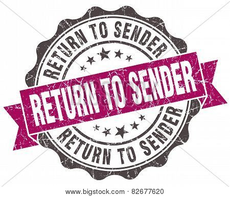 Return To Sender Grunge Violet Seal Isolated On White