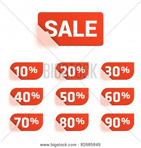 Vector set of discount price tags.
