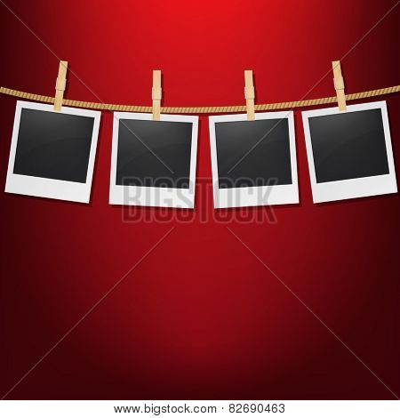 Photos With Clothespegs With Gradient Mesh, Vector Illustration