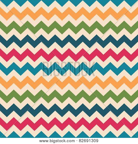 Chevron seamless pattern. Zigzag texture in retro colors, seamless background