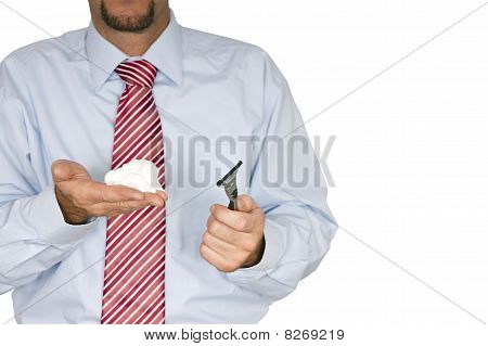 Manager with shaving foam and blades