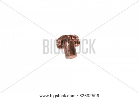 a used and flattened copper plated .45 acp bullet. isolated on white with room for your text.