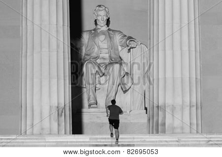 Abraham Lincoln Statue detail at Lincoln Memorial - Washington DC, United States
