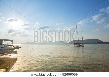 HYDRA, GREECE - CIRCA OCT, 2014: Unidentified sailboats participate in sailing regatta 12th Ellada Autumn 2014 among Greek island group in the Aegean Sea, in Cyclades and Argo-Saronic Gulf.