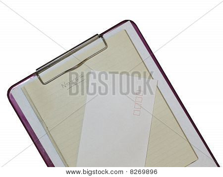 Clipboard With Notebook And Envelope