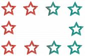 Glittery star border in red and green poster