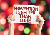 Prevention is Better than Cure card with colorful background with defocused lights poster