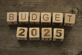 Budget for 2025 wooden, blocks on a wooden background poster