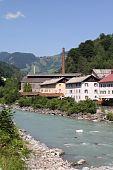 Austria - Salzach river in the town of Lend region Pinzgau poster