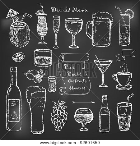 Alcohol and drinks menu on black board