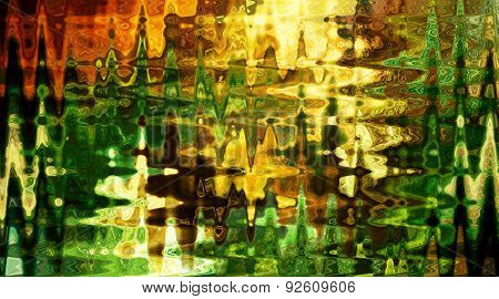Abstract background with sharp shapes in green, yellow and ocre tones