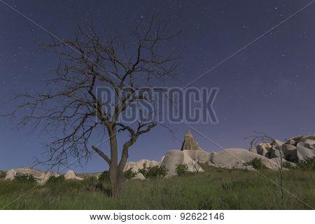 Cappadocia Landscape At Night Time, Turkey