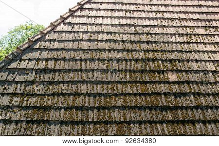 The Old Roof With Moss-grown Tiles