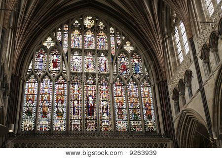 Great East Window Of Exeter Cathedral Of Early 14Th Century