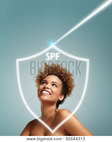 Happy Black Girl Looking Up On Uv Ray, Behind The Spf Shield