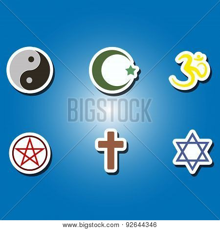 set of color icons with religious symbols