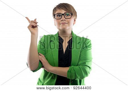 Photo of pudgy puzzled business woman