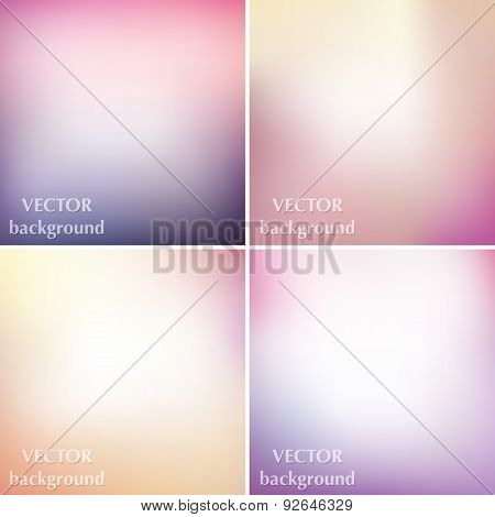 Abstract Colorful Blurred Smooth Pastel Soft Colors Vector Backgrounds Set