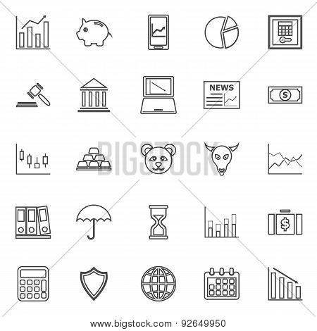 Stock Market Line Icons On White Background