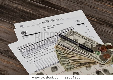 Usa Citizenship And Immigration With American Money