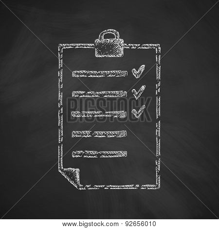 list icon. Hand drawn vector illustration. Chalkboard Design poster