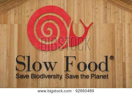 Slow Food Sign At Expo 2015 In Milan, Italy