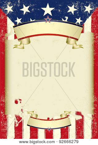 American retro dirty frame. An american grunge flag with a large frame for your message.