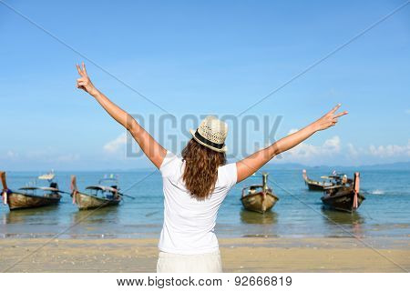 Woman On Thailand Travel Enjoying Freedom