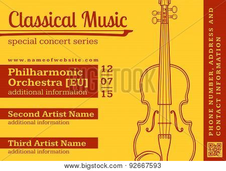 Classical Music Concert Violin Horizontal Music Flyer Template.