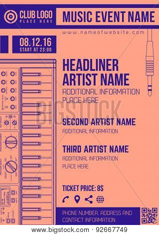 Electronic Music Concert Synthesizer Vertical Flyer Template .