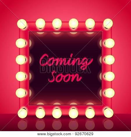 Coming Soon Concept With Makeup Mirror Vector