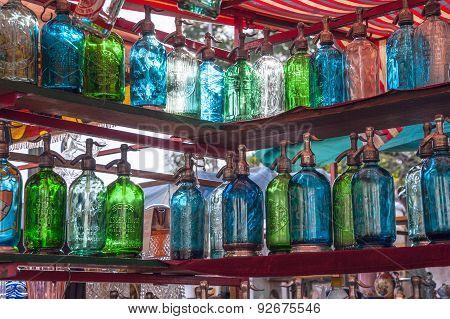 Vintage Bottles For Sale, San Telmo Flee Market, Buenos Aires