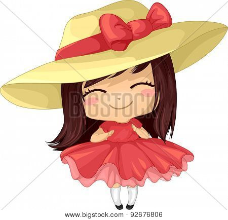Illustration of a Girl in a Frilly Dress Wearing a Large Hat