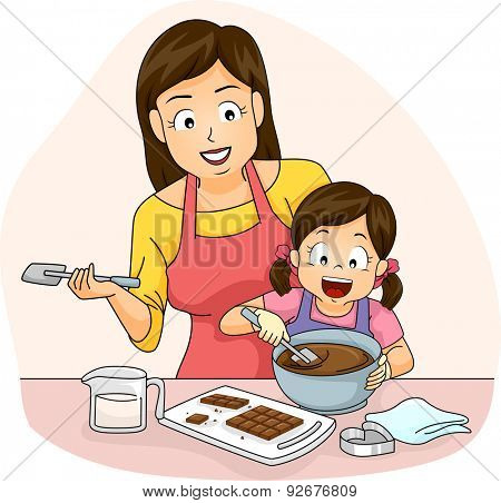 Illustration of a Mother Teaching Her Daughter How to Make Chocolates poster