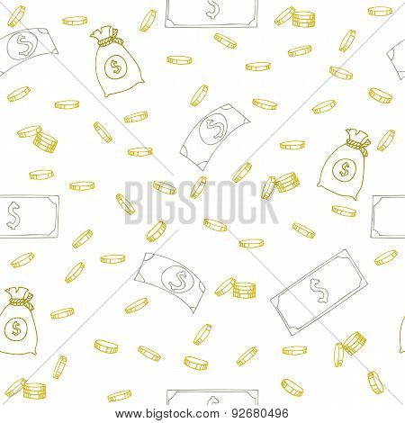 Seamless Pattern With Money. Hand Sketched Coins, Dollar Bills And Money Bags