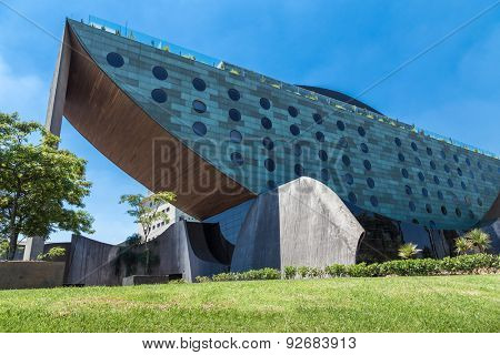 SAO PAULO, BRAZIL - CIRCA JAN 2015: The external architecture of the Unique Hotel in Sao Paulo. The Hotel Unique is one of the landmarks in Sao Paulo and has a Bar Restaurante on the top called Skye.