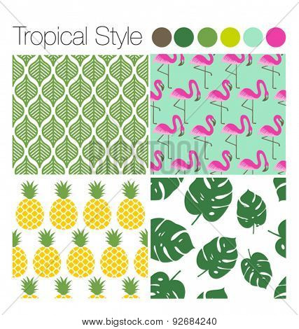 SET OF TROPICAL EXOTIC JUNGLE BACKGROUNDS PATTERNS . Editable vector illustrator file. Leaves, flamingo, pineapple.