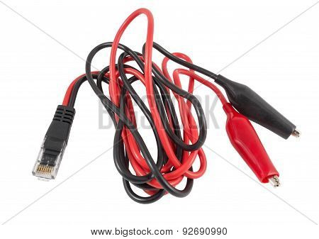 Red and black probes of multimeter isolated on white poster