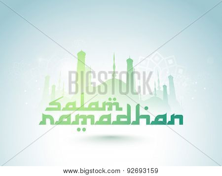 Shiny green mosque with stylish text Salam Ramadhan on floral design decorated sky blue background for Islamic holy month of prayers, Ramadan Kareem celebration.