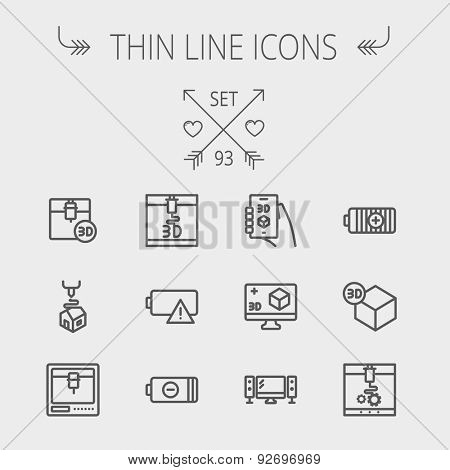 Technology thin line icon set for web and mobile. Set includes - 3D printer, 3d box, tv with speakers, battery. Modern minimalistic flat design. Vector dark grey icon on light grey background