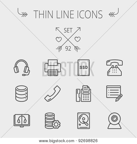 Technology thin line icon set for web and mobile. Set includes - headphones, server, printer, fax machine, telephone receiver, SSD, web cam, hard disk. Modern minimalistic flat design. Vector dark