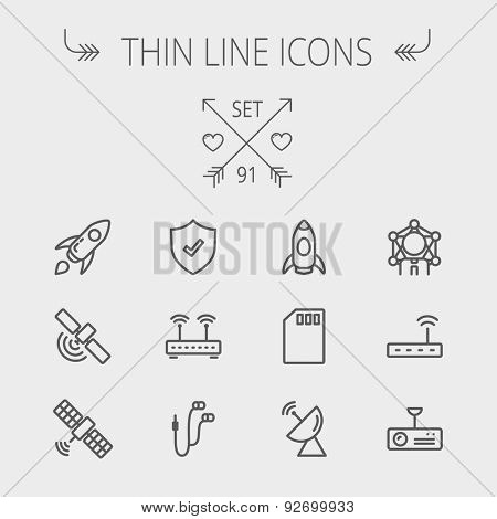 Technology thin line icon set for web and mobile. Set includes - start up, satellite, shield, router, wifi, earphone, memory card, radar. Modern minimalistic flat design. Vector dark grey icon on