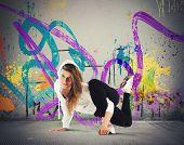 Street agile ballerina with hoody dance breakdance poster
