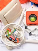 Components for use in electrical installations and diagrams copper wire connections in electrical box accessories for engineering work energy concept poster